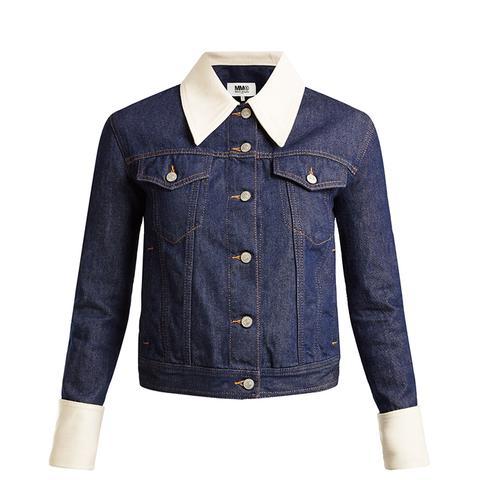 Contrast-Trim Denim Jacket