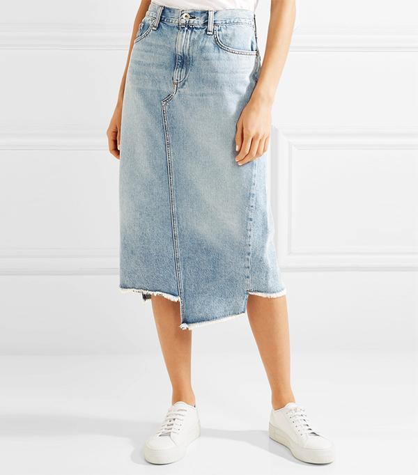 Sakato Distressed Denim Midi Skirt