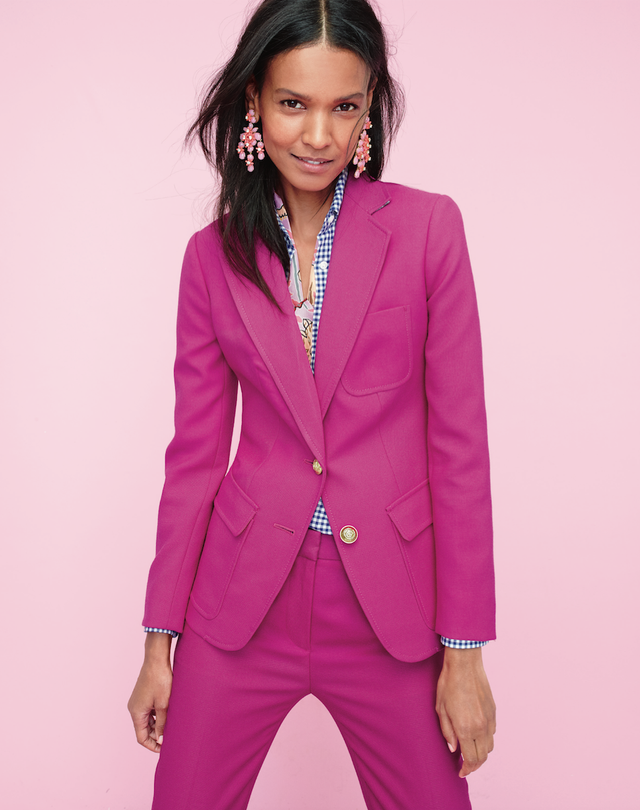 Pictured: J.Crew Rhodes Blazer($198), Gathered Popover Shirt in Two-Tone Gingham($60), and Rhodes Pants in Italian Wool($128). WWW: Are there any rules for wearing pink to...