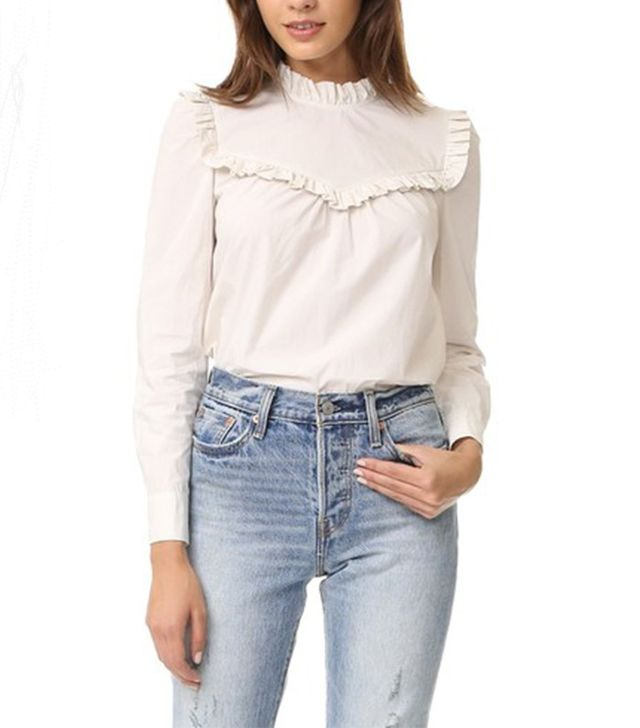La Vie Rebecca Taylor Long Sleeve Pop Ruffle Blouse