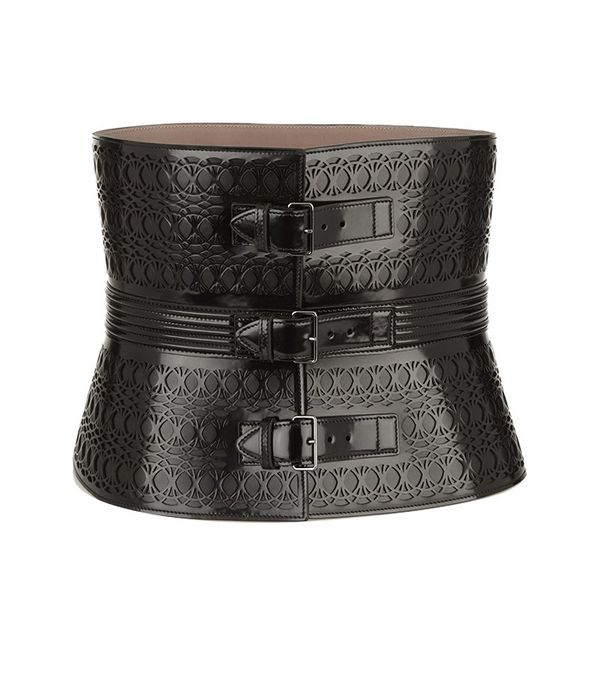 Alaia Laser-Cut Glossed-Leather Waist Belt