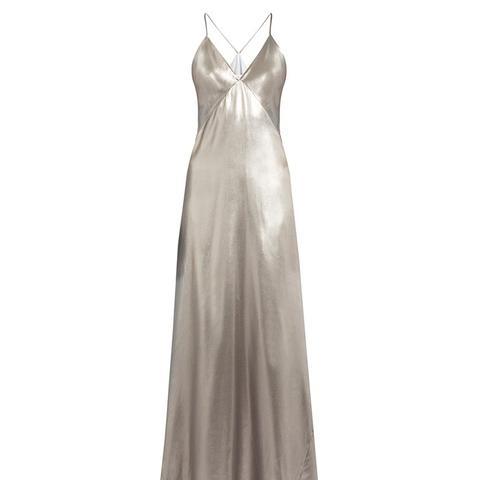 V-Neck Sleeveless Silk-Satin Gown