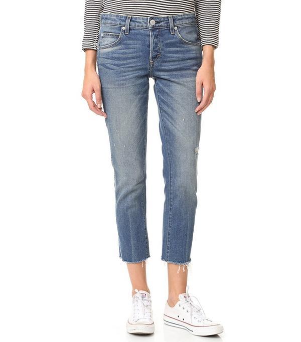 AMO Women's Blue Tomboy Crop Frayed Edge Jeans