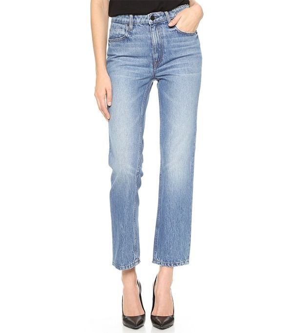Denim X Alexander Wang Cult Cropped Straight Leg Jeans