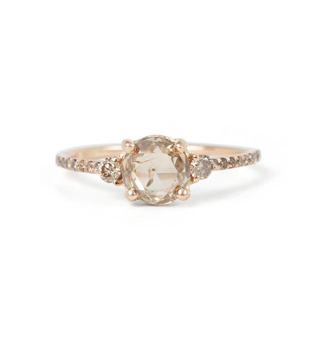 Blanca Monros Gomez Champagne Diamond Solitaire Ring