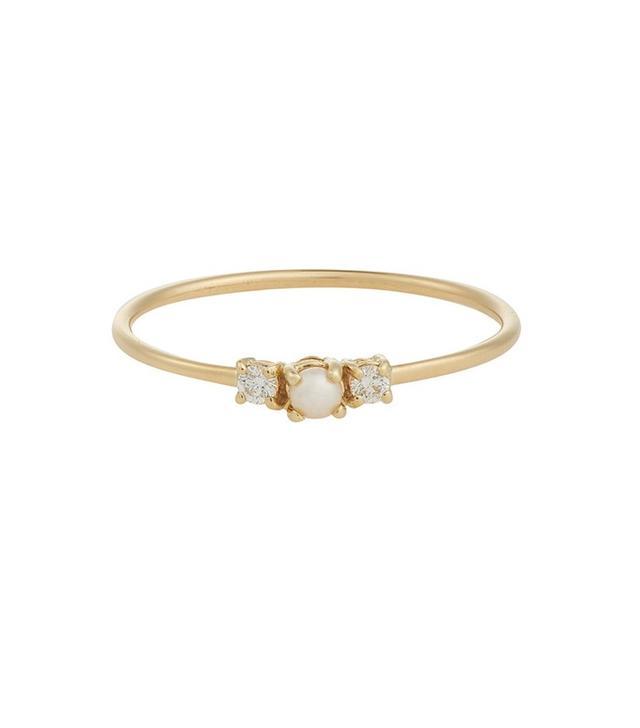 Jennie Kwon Diamond and Pearl Ring