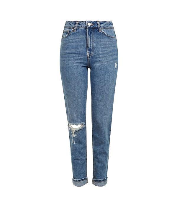 Topshop Moto Mid Blue Rip Mom Jeans
