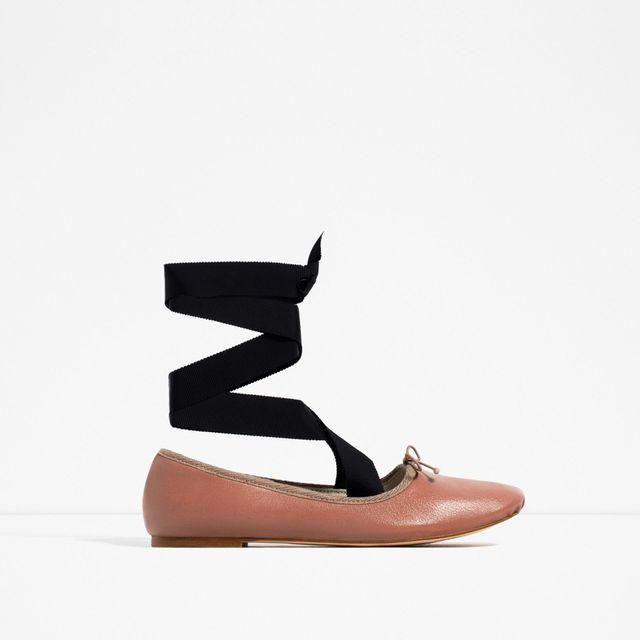 zara Lace-Up Ballet Flat