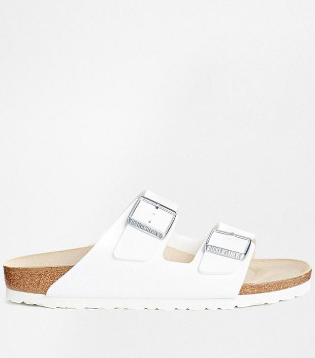 Birkenstock Arizona White Birko Flor Narrow Fit Flat Sandals