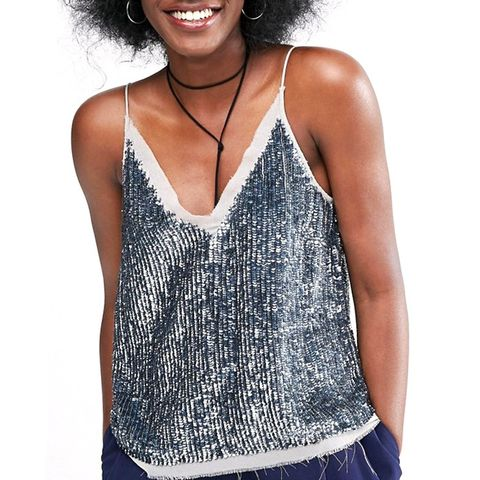 Sequin Cami Top With Raw Edge Detail