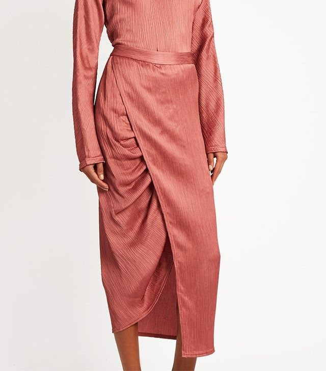 Sies Marjan Gathered-Seam Crinkled-Satin Midi Skirt