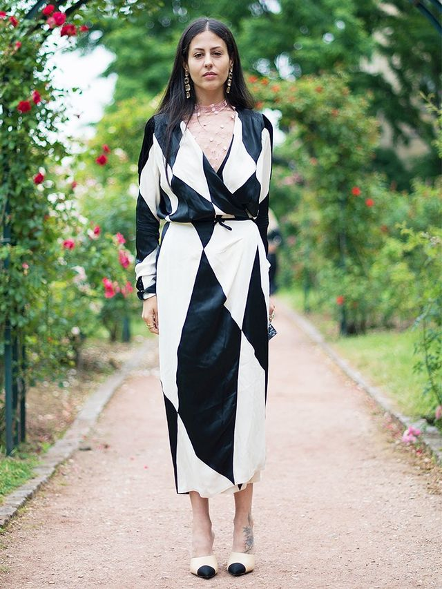 Co-founder Gilda Ambrosio wearing an Attico robe-dress during Couture Fashion Week.