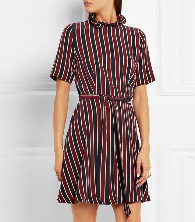 Ganni Striped Silk Mini Dress