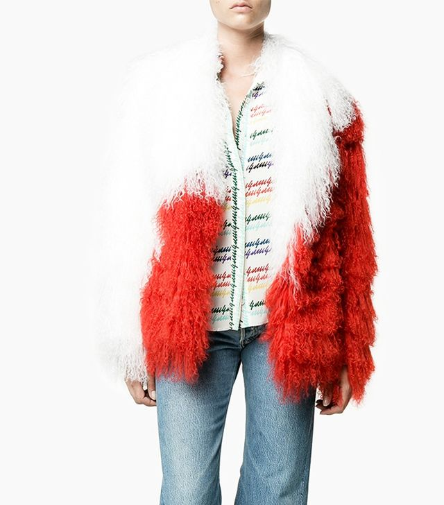 Saks Potts Heart Mongolian Lamb Fur Coat