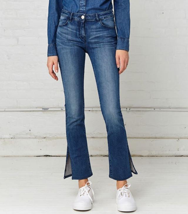 3x1 W2 Mid Rise Split Bell Crop Jeans