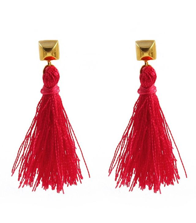 Flaca Jewelry Tassel Earrings with Bullet Stud