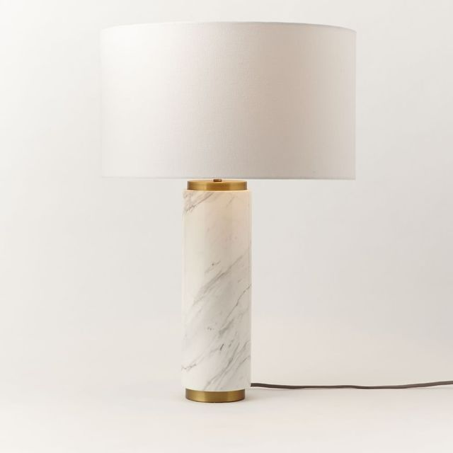West Elm Pillar Table Lamp - Marble