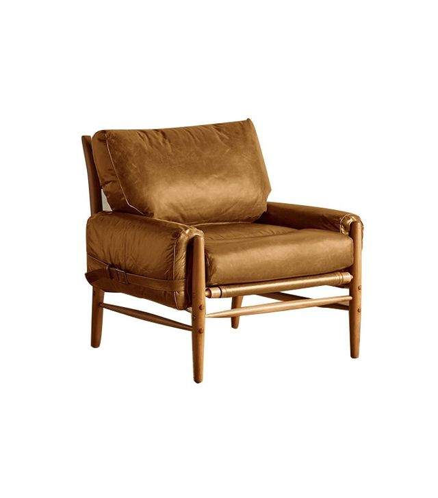 Anthropologie Premium Leather Rhys Chair