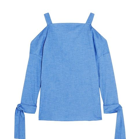 Cutout Stretch-Cotton Chambray Top