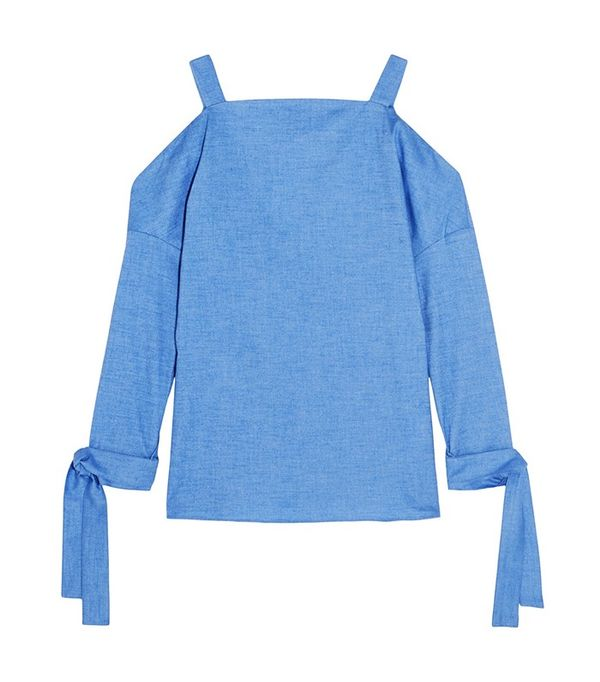 Tibi Cutout Stretch-Ctoon Chambray Top