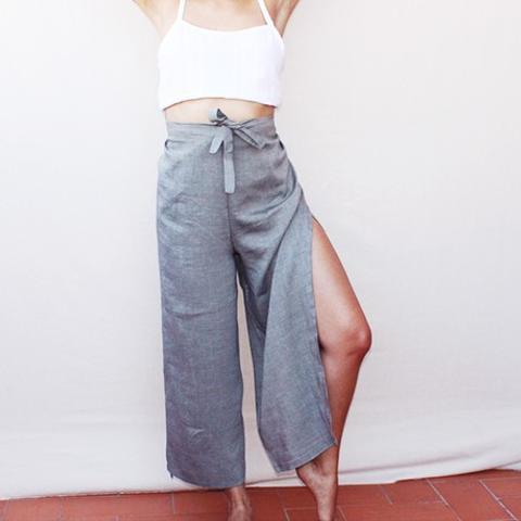 Grey Wrap Trousers