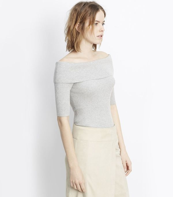 Vince Skinny Rib Off-the-Shoulder Elbow Sleeve Pullover