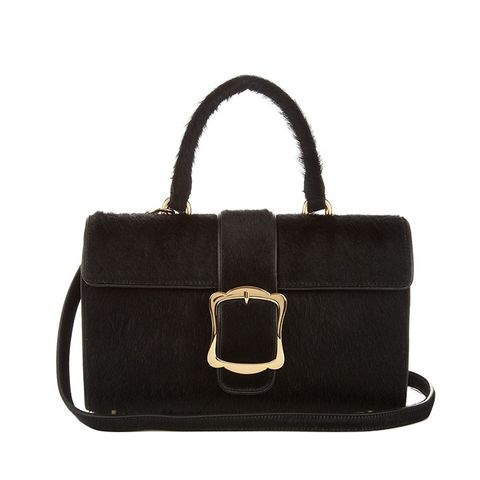 Oversized-Buckle Calf-Hair Bag