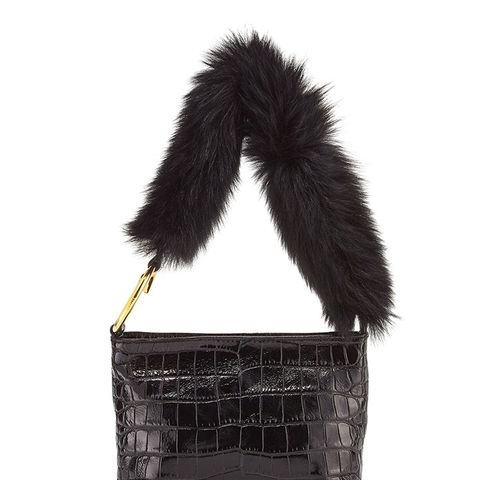 Finley Crocodile-Embossed Fur Shoulder Bag