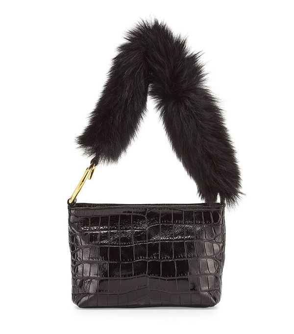 Elizabeth and James Finley Crocodile-Embossed Fur Shoulder Bag