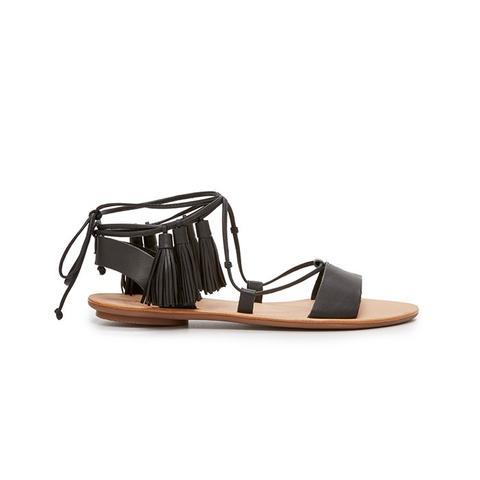 Saffron Tassel Lace Up Sandals