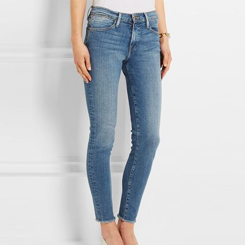 Mid-Rise Frayed Skinny Jeans