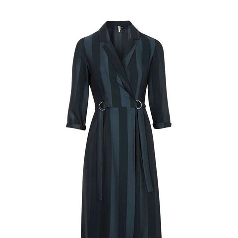 Jacquard Stripe Wrap Midi Dress