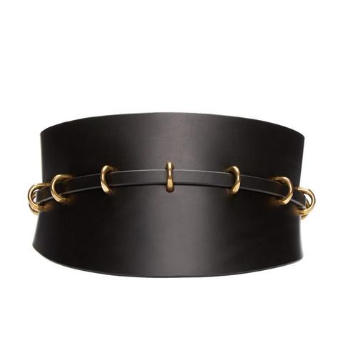 Black Leather Multi-Ring Corset