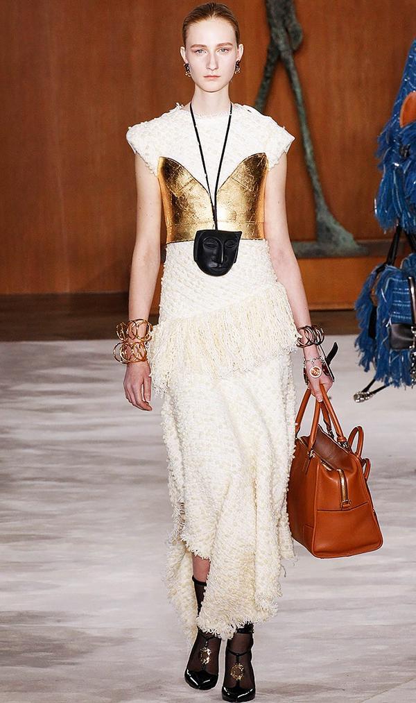 Loewe's sexy metallic corset is the ultimate layering piece.
