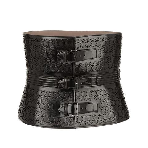 Laser-Cut Glossed-Leather Waist Belt