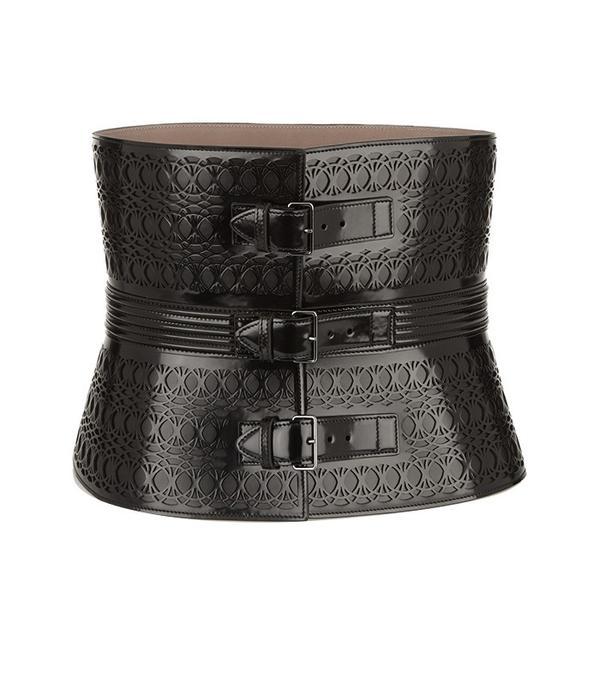 Alaia Laser-Cut Glossed-Leather Waist Belt