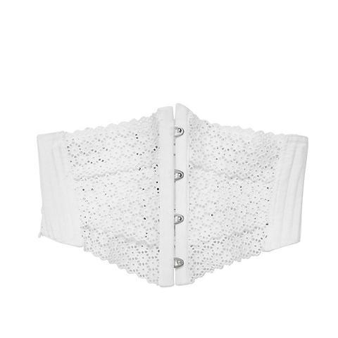 Embroidered Cotton Poplin Corset Belt