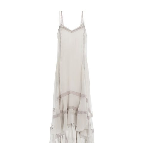 Silk Slip Dress with Lace