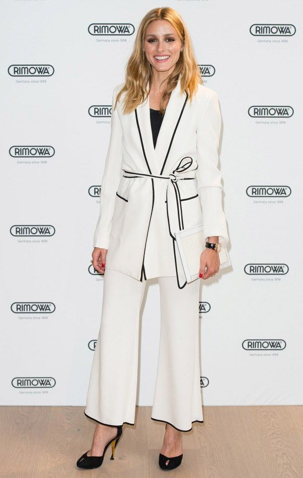 On Olivia Palermo: Zara jacket and Cropped Bell Bottom Trousers ($20); Diane von Furstenberg heels.