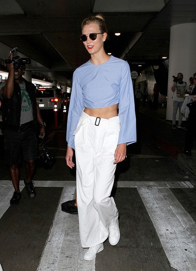 On Karlie Kloss: Rosie Assoulin Bell Sleeve Top ($795).