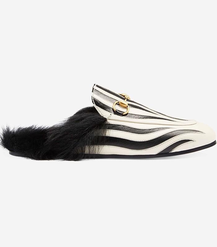 Gucci Princetown Zebra Slippers