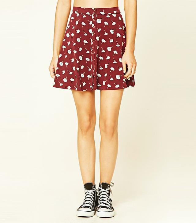 Forever 21 Floral Print Snap-Button Miniskirt