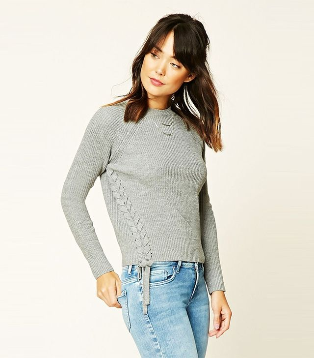 Forever 21 Contemporary Knit Lace-Up Sweater