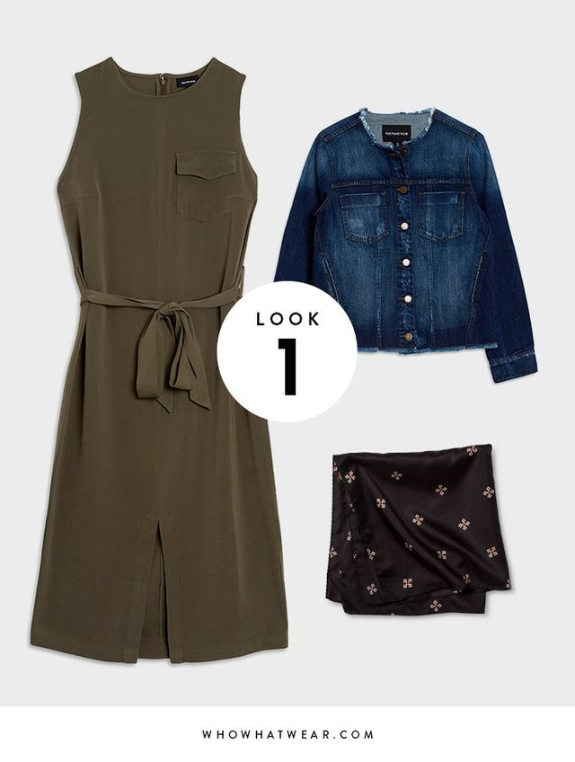 Take a simple and flattering sheath dress to stylish new heights by adding a neckerchief and updated denim jacket. SHOP: Who What Wear Utility Midi Dress ($33), Frayed Edge Jacket ($40), and...