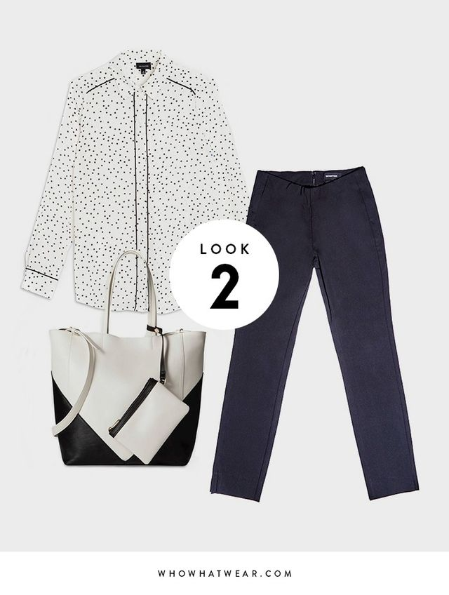 Make the pajama trend work-appropriate by pairing it with cropped trousers and a structured tote.