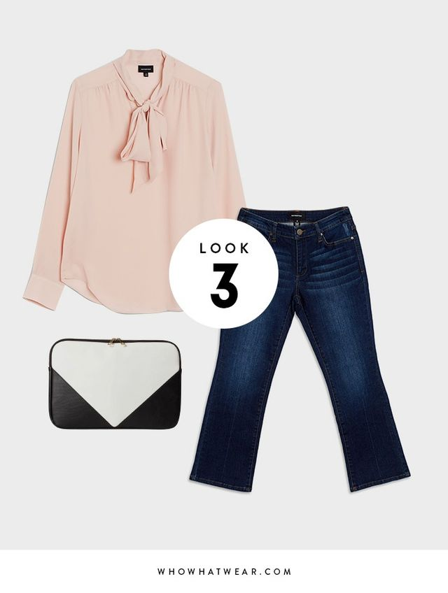 Want an easy go-to look for casual Friday? Pair some cropped flares with a bow blouse to strike the perfect balance between professional and casual.