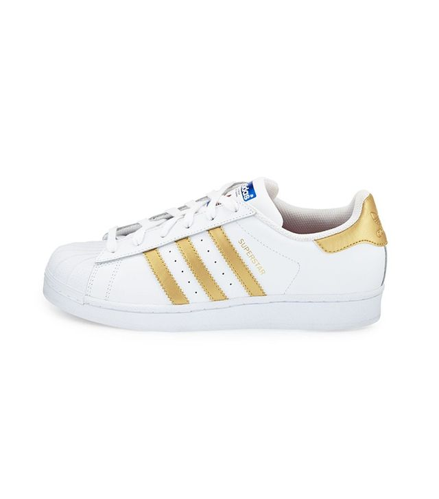 Adidas Originals Superstar Original Fashion Sneakers in White/Gold