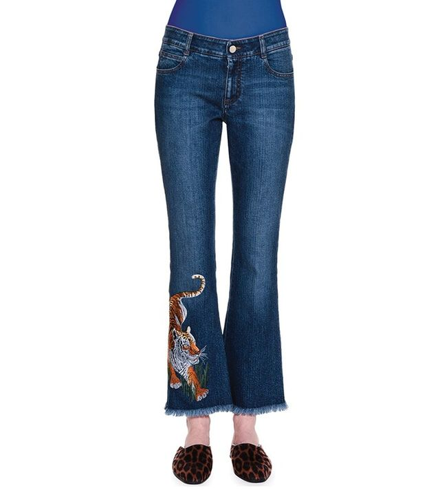 Stella McCartney Tiger-Embroidered Flare-Leg Cropped Jeans