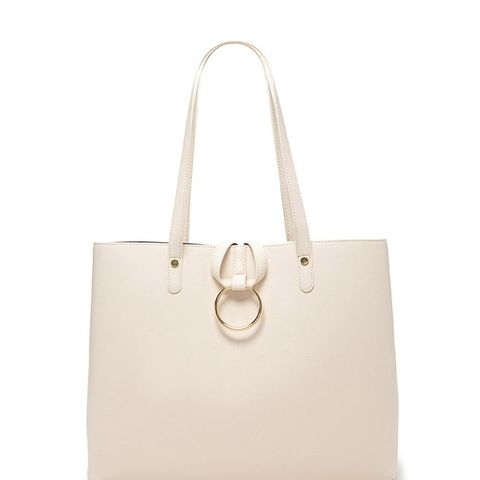 Loop-Ring Faux Leather Tote