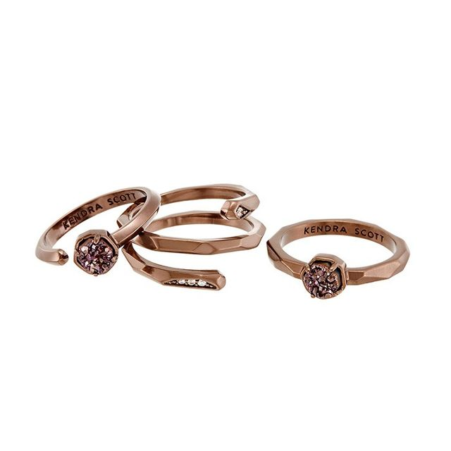 Kendra Scott Warren Ring Set in Rose Gold Drusy